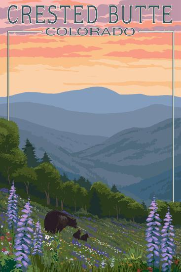 Crested Butte, Colorado - Bear and Spring Flowers-Lantern Press-Wall Mural
