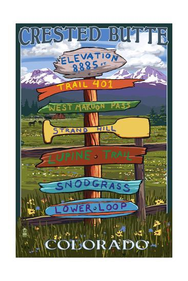 Crested Butte, Colorado - Destination Signpost-Lantern Press-Art Print