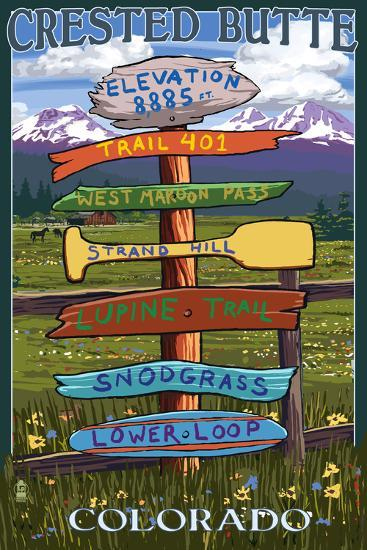 Crested Butte, Colorado - Destination Signpost-Lantern Press-Wall Mural