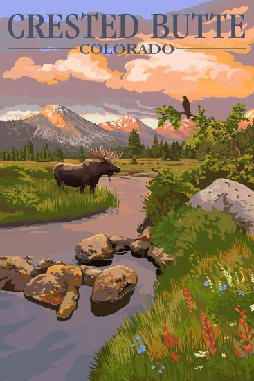 Crested Butte, Colorado - Moose and Meadow Scene-Lantern Press-Wall Mural