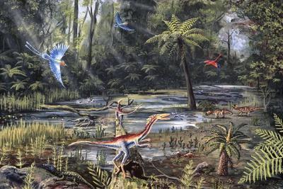 Cretaceous Life, Artwork-Richard Bizley-Photographic Print