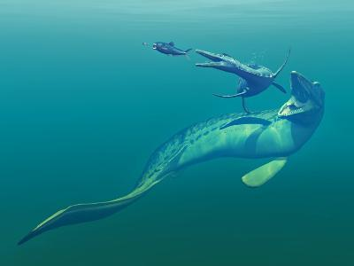 Cretaceous Marine Predators, Artwork-Walter Myers-Photographic Print