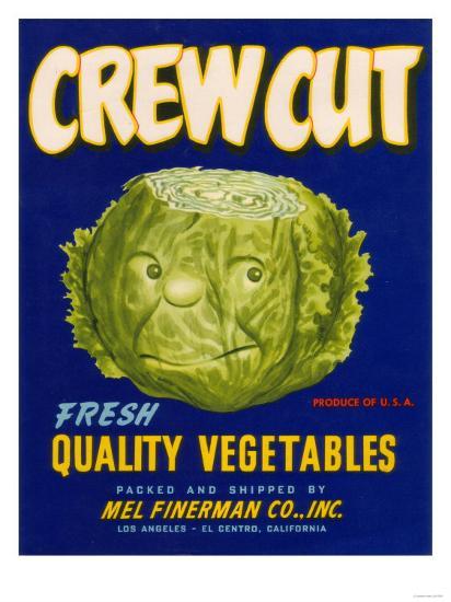 Crew Cut Lettuce Label - El Centro, CA-Lantern Press-Art Print