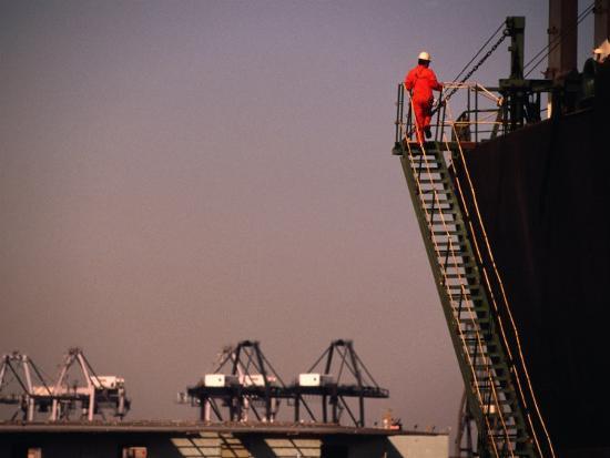 Crew Member Entering Cargo Ship on Ladder, Los Angeles, California-Thomas Winz-Photographic Print