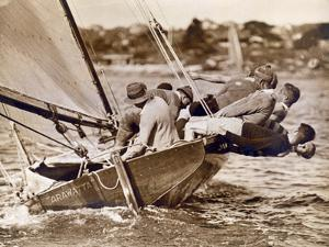 """Crew of the """"Arawatta"""" During the """"Eighteen Footer"""" Race, Sydney Harbour, 9th April 1934"""