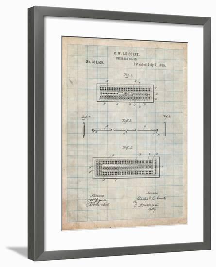 Cribbage Board 1885 Patent-Cole Borders-Framed Art Print