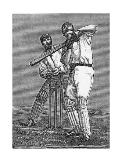 Cricket a Batsman Dealing with a Full Pitch--Giclee Print