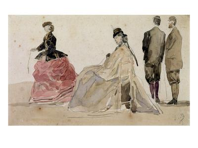 Eugene Boudin Crinoline Ladies Haute Couture  Wall Art  Canvas