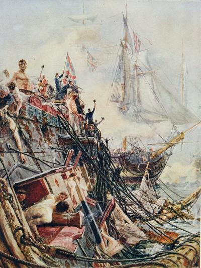 Crippled But Unconquered: The 'Belleisle' at the Battle of Trafalgar, 21st October 1805, from…-William Lionel Wyllie-Giclee Print