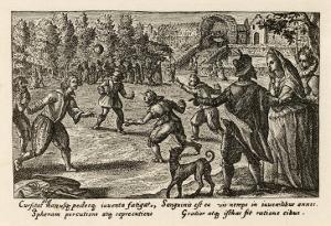 Spectators Watch a Game of Football by Crispijn de Passe