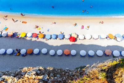 Aerial View of Porto Katsiki Beach, with People Enjoying Summer Holiday by Cristian Balate Photography