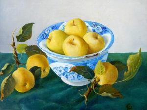 Apples in a Blue Bowl, 2014 by Cristiana Angelini