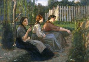 Young Peasant Women Talking, Galleria d'Arte Moderna, Palazzo Pitti, Florence by Cristiano Banti