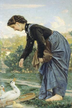 Young Woman Feeding a Duck, 1871