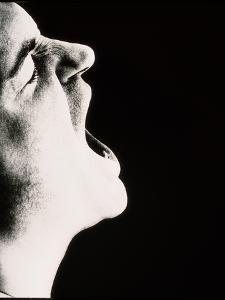 Face of Man Screaming In Rage Or Pain (side View) by Cristina