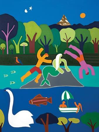 Les baigneurs sous le charme de la sirene du lac Leman, 2016 by Cristina Rodriguez