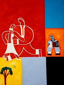 The marriage, 2001(oil on linen) by Cristina Rodriguez