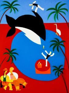 Watching the whales play with the blondes, 2001,(oil on linen) by Cristina Rodriguez