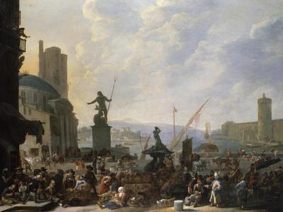 A Capriccio of a Mediterranean Port, with Numerous Figures, 1651