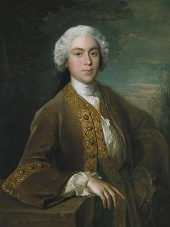 Portrait of Lord Trimleston, Half Length, in a Brown Coat, Leaning on a Ledge, in a Landscape, 1744