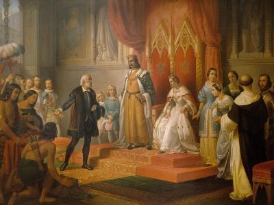 Cristopher Columbus at the Court of Catholics Kings, 1850-Juan Cordero-Giclee Print