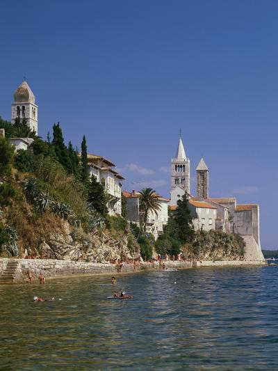 Croatia, Dalmatia, Rab Island, Rab City, Old Town, Cityscape, Beach, Swimmers-Thonig-Photographic Print