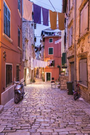 Croatia, Istria, Adriatic Coast, Rovinj, Old Town Lane in the Evening-Udo Siebig-Photographic Print