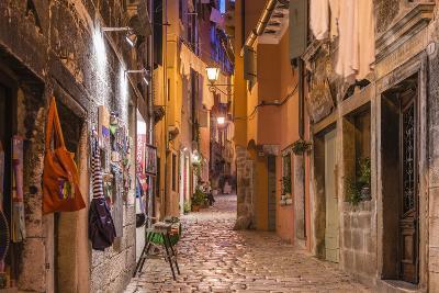 Croatia, Istria, Adriatic Coast, Rovinj, Old Town Lane in the Evening-Udo Siebig-Photographic Print