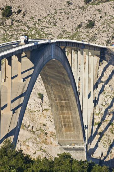 Croatia, Kvarner Gulf, Krk (Island), Bridge, Shade, Cars-Rainer Mirau-Photographic Print