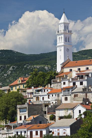 Croatia, Kvarner Gulf, Novi Vinodolski, Church, Roofs, Clouds-Rainer Mirau-Photographic Print