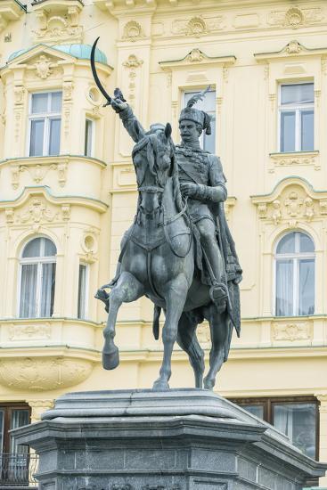 Croatia, Zagreb, Jelacic Square, Statue of Ban Jelacic-Rob Tilley-Photographic Print