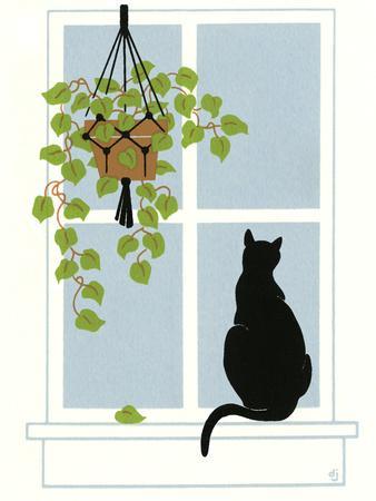 Black Cat on a Window Sill