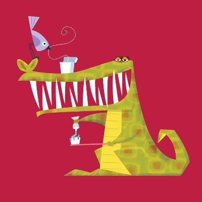 Crocodile brushing his teeth-Harry Briggs-Giclee Print