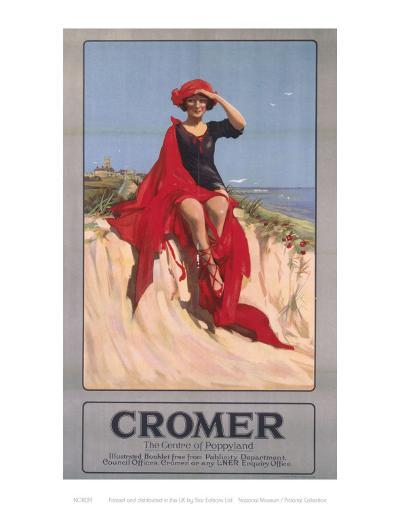 Cromer Girl with Red Material--Art Print