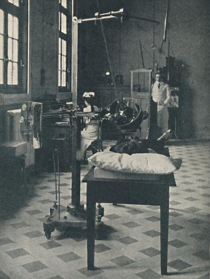 'Crookes, Rontgen and Finsen - Using the Marvellous X-Rays Apparatus', c1925-Unknown-Photographic Print
