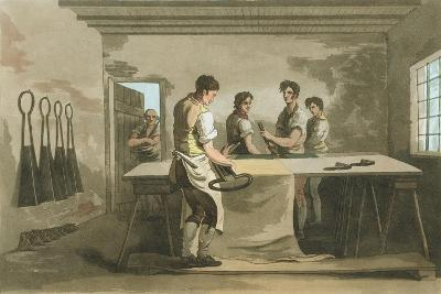 Cropping Wool to Give an Even Pile after Nap Had Been Raised, 1814-George Walker-Giclee Print