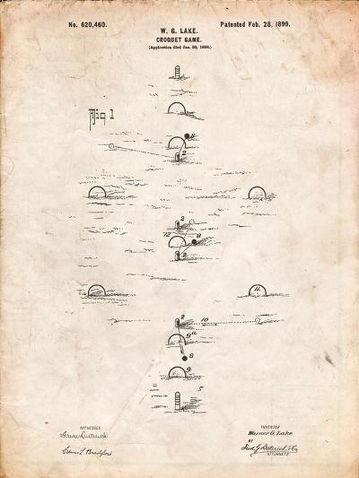 Croquet Game 1899 Patent-Cole Borders-Art Print