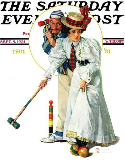 """""""Croquet"""" or """"Wicket Thoughts"""" Saturday Evening Post Cover, September 5,1931-Norman Rockwell-Giclee Print"""