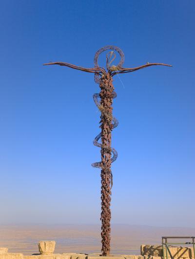 Cross at Moses Memorial Church, Mt Nebo, Overlooking Jordan Valley and Jericho Oasis, Amman, Jordan-Keren Su-Photographic Print