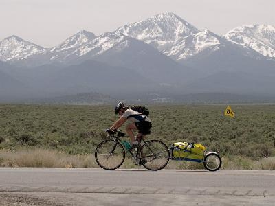 Cross-Country Bicyclist, US Hwy 50, Toiyabe Range, Great Basin, Nevada, USA-Scott T^ Smith-Photographic Print