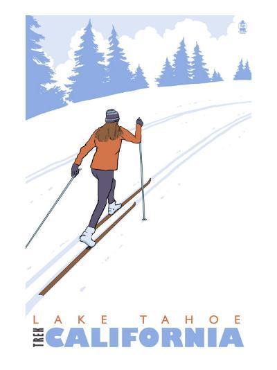Cross Country Skier, Lake Tahoe, California-Lantern Press-Art Print