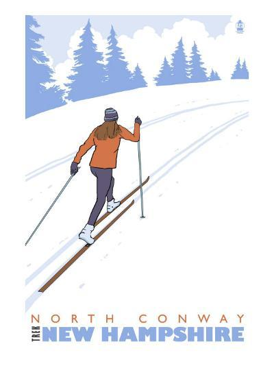 Cross Country Skier, North Conway, New Hampshire-Lantern Press-Art Print