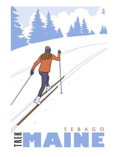 Cross Country Skier, Sebago, Maine-Lantern Press-Art Print