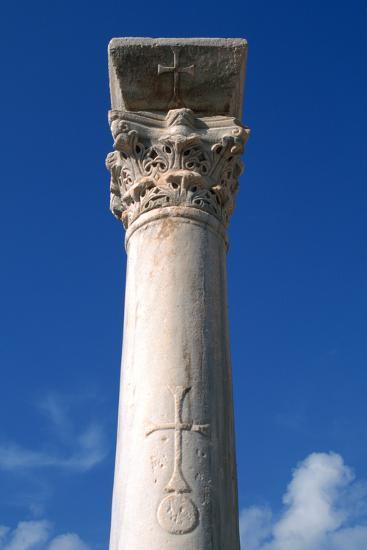 Cross Inscribed on a Column, Apollonia, Libya-Vivienne Sharp-Photographic Print