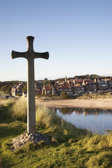 Cross on a Hill Overlooking Town; Alnmouth, Northumberland, England-Design Pics Inc-Photographic Print