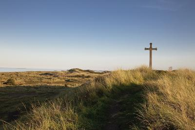 Cross on a Hill Overlooking Valley, Alnmouth, Northumberland, England-Design Pics Inc-Photographic Print