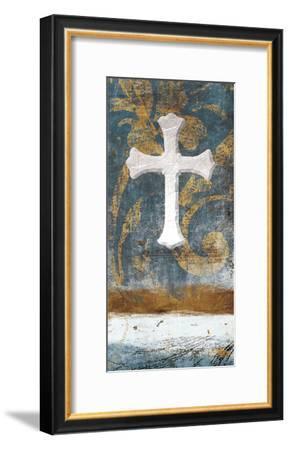 Cross On Blue-Jace Grey-Framed Art Print