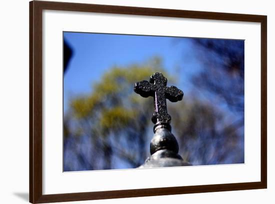 Cross on Fence SoHo NYC--Framed Photo