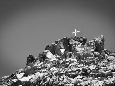Cross on Top of Sandia Mountain Boulder Mound Landscape in Black and White, New Mexico-Kevin Lange-Photographic Print