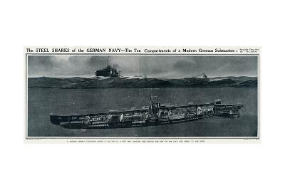 Cross Section of a German Submarine-G.h. Davis-Giclee Print